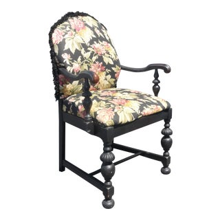 French Country Black Floral Design Accent Chair For Sale