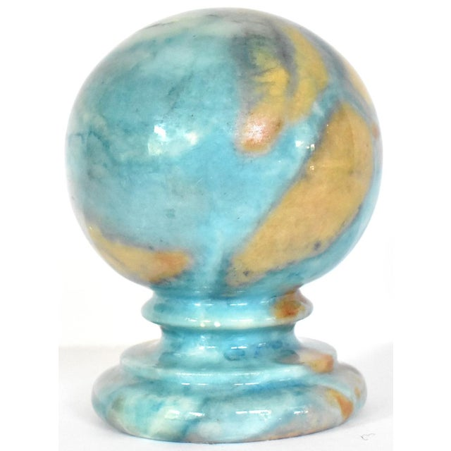 Vintage Italian Duccheschi Blue and Tan Alabaster Round Paper Weight For Sale - Image 12 of 12