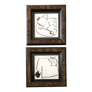 Gallery Wall Collection 2 Original Miniature Robert Cooke Abstract Ink Drawings 1970's For Sale