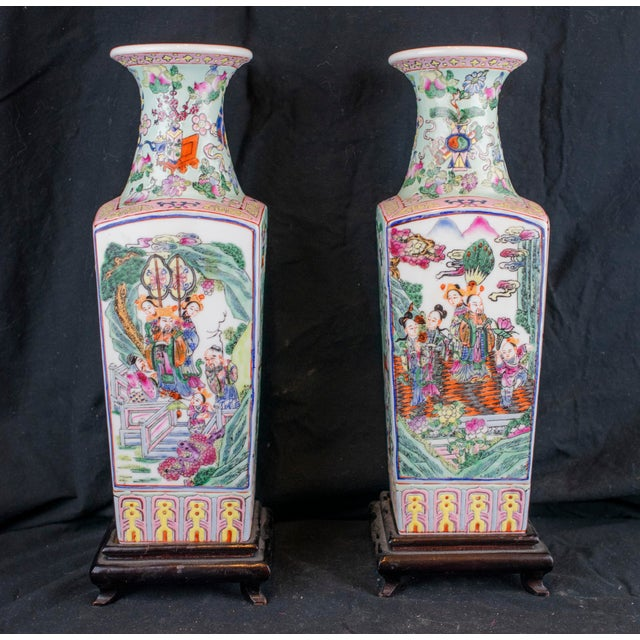 20th Century Chinese Ceramic Square Vase Chairish