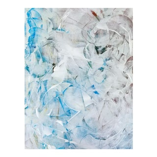 Original Abstract Art Expressionist Blue White Painting Canvas For Sale