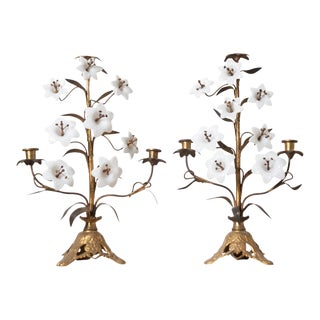 French 19th Century Gilt-Brass and Milk Glass Candelabras - a Pair For Sale