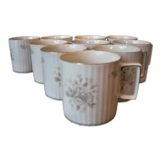 Empire Rose China Mugs - Set of 10 For Sale