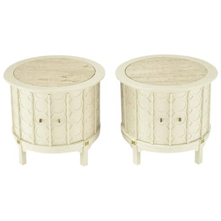 Pair Bone Lacquer Cylinder Tables With Travertine Inlaid Tops. For Sale