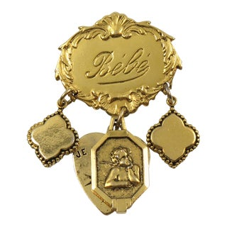 Zoe Coste Paris Dangling Pin Brooch Gilt Charm Medallions For Sale