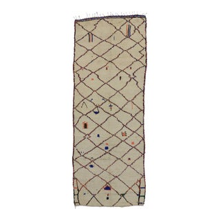 Vintage Azilal Berber Moroccan Ivory Carpet Runner with Modern Tribal Style