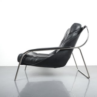 Marco Zanuso Maggiolina Sling Black Leather Chair by Zanotta, 1947