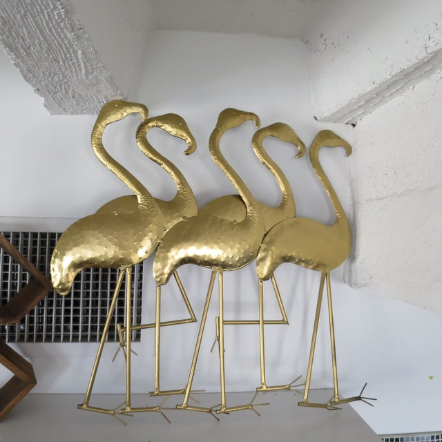 1960s Art Deco Gold Flamingos Metal Wall Art | Chairish