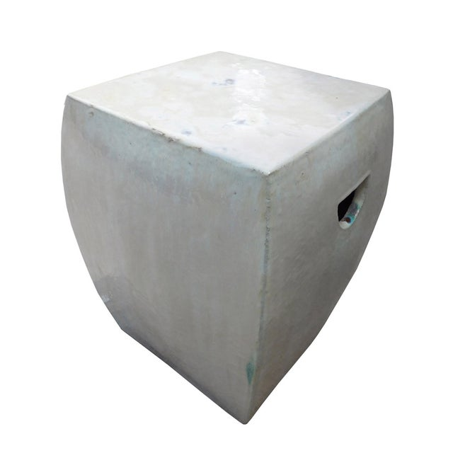 Chinese Off White Square Clay Ceramic Garden Stool - Image 6 of 7