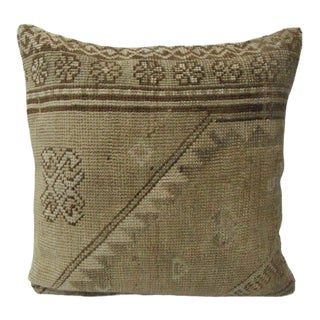 Turkish Vintage Tan & Beige Handmade Pillow Cover For Sale