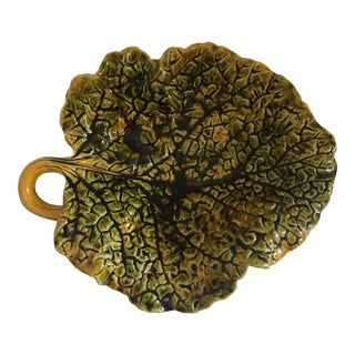 French Majolica Cabbage Leaf Dish by Sarreguemines, Old Marking, C.1890 For Sale