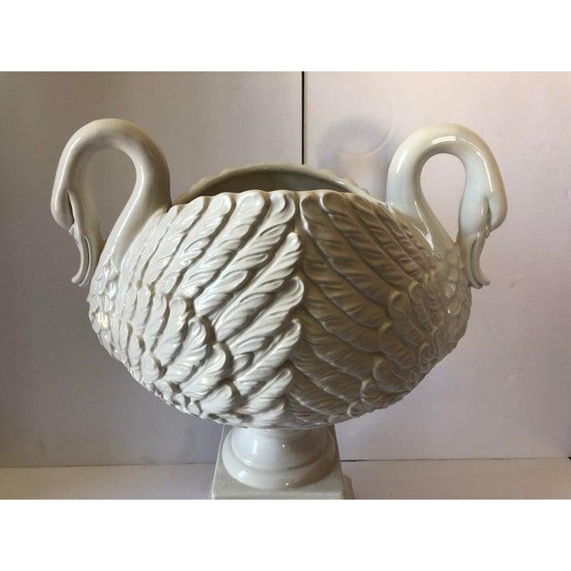 Vintage white Italian pottery swan urn centerpiece. Marked 'Italy'.