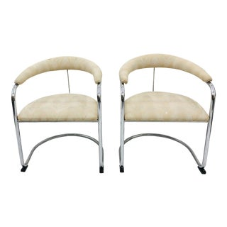 Pair Vintage Mid Century Modern Thonet Arm Chairs For Sale