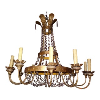 19th Century Italian Gilded Iron and Crystal Chandelier For Sale
