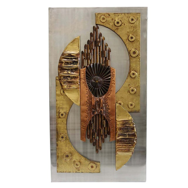 1970s Brutalist Mixed Metal Wall Art Sculpture - Image 2 of 10