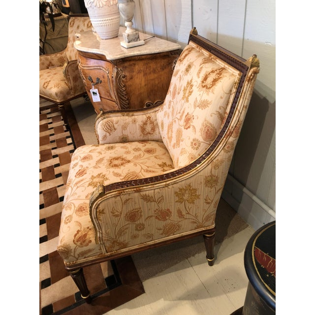 1990s Lovely Pair of Carved Gilded Wood and Upholstered French Bergère For Sale - Image 5 of 13