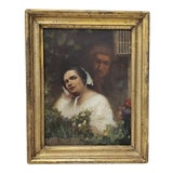 Image of 19th Century Oil Portrait of a Young Woman and Man For Sale