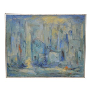 Mid Century Modern Abstract Cityscape by Mary Carey c.1950s