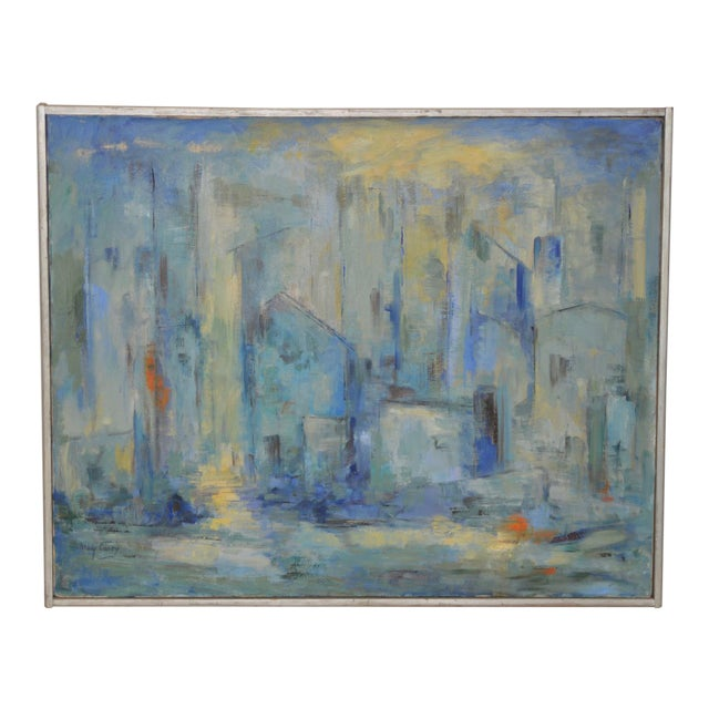 Mid Century Modern Abstract Cityscape by Mary Carey c.1950s For Sale