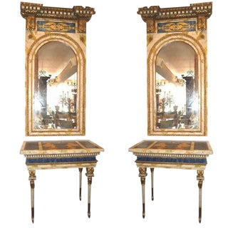 18th Century Roman Consoles & Mirrors - Set of 4