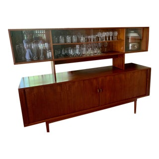1950s Mid Century Modern Teak Hutch For Sale