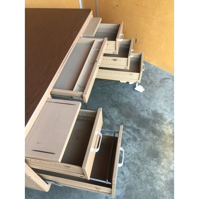 Classic Vintage Tanker Desk with Post Pole Legs For Sale In San Francisco - Image 6 of 8