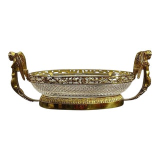 Baccarat Style Bronze Gilded and Crystal Centerpiece Bowl For Sale