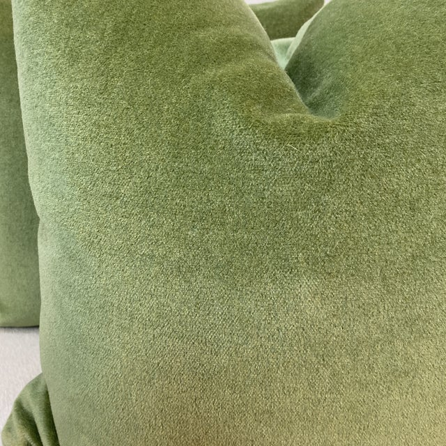 """Custom pair of 22"""" pillows covered in Brunschwig & Fils """" Autun Mohair Velvet"""" In color Leaf. These pillows have tapered..."""
