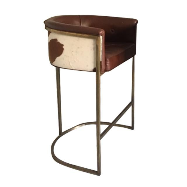 Arteriors Calvin Leather Bar Stools - A Pair - Image 3 of 6