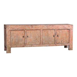 Indian Rose Pink Long Painted Buffet Credenza Chinese Circa 1940
