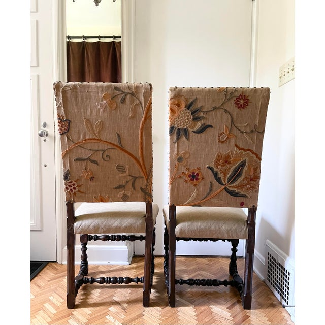 Mid 17th Century Walnut Franco Flemish Louis XIII Baroque Fireside Chairs - a Pair For Sale - Image 4 of 13