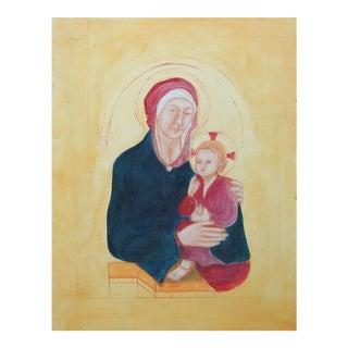 Madonna & Child Painting by Rebecca De Leon Almazan For Sale