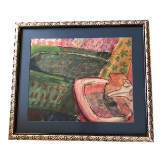 Original Vintage Abstract Sink Painting 1970's For Sale