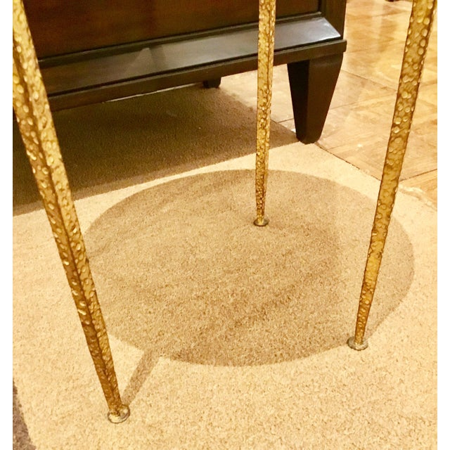 Arteriors Home Arteriors Round Hammered Metal Table For Sale - Image 4 of 6