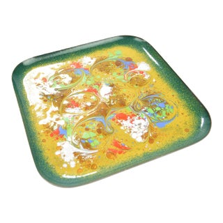 1960s Copper Colored Enamel Plate, Germany For Sale