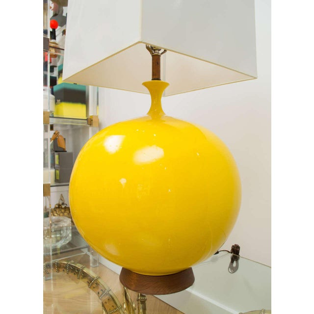 Yellow Round Yellow Ceramic Lamp For Sale - Image 8 of 9