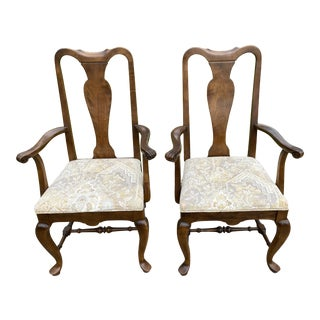 Ethan Allen Classic Manor Solid Maple Queen Anne Style Arm Chairs - a Pair For Sale