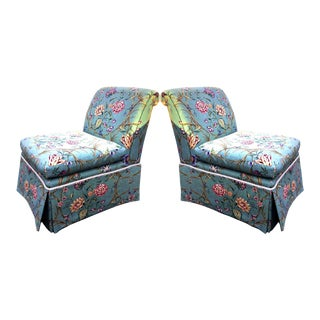 1970s Vintage Baker Furniture Chintz Calico Slipper Chairs - A Pair For Sale