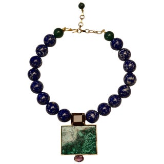 Philippe Ferrandis Malachite and Lapis Necklace For Sale