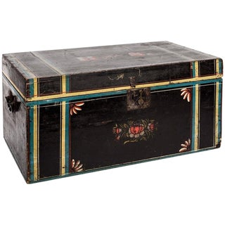 American Paint Decorated Wood Chest For Sale