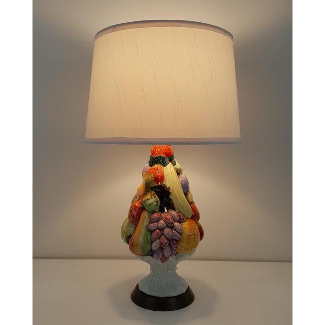 Italian Mid-Century Ceramic Fruit Basket Lamp For Sale - Image 11 of 12