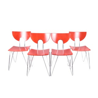 Set of Four Red Mikado 1800 Side Chairs by Walter Leeman for Kusch+Co For Sale