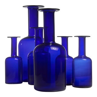 Otto Brauer set of six blue glass vases for Holmegaard, Denmark For Sale