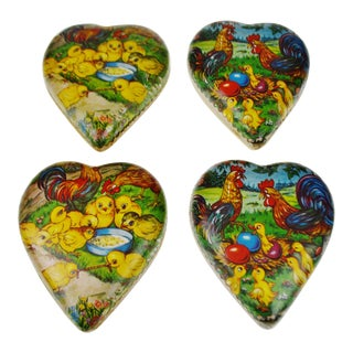 Vintage 1950's German Paper Mache Easter or Valentine's Candy Container - Set of 2 For Sale