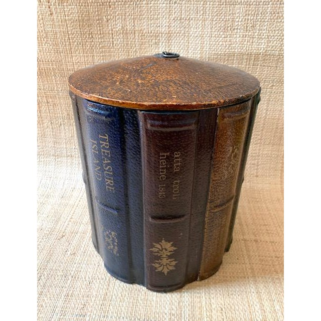 English Vintage Faux Books Wastebasket For Sale - Image 3 of 7