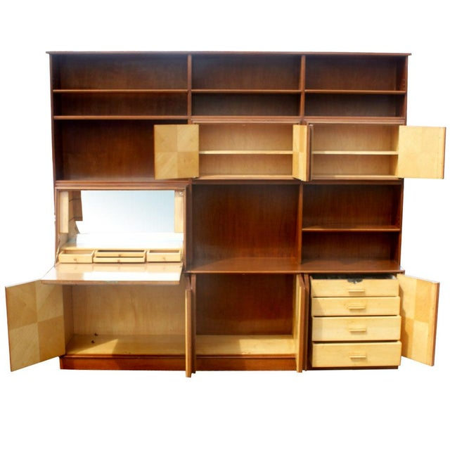 1960s 1960s Mid Century Modern Burl Wall Unit Entertainment For Sale - Image 5 of 10