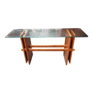 1970's Gustav Gaarde Danish Mid Century Modern Teak Trestle Base/Beveled Edge Glass Top Coffee Table For Sale