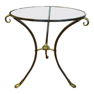 French Maison Baguès Style Brass Table or Guéridon With Glass Top For Sale