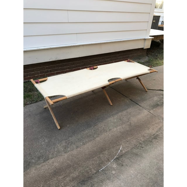 This vintage collapsible camping cot could be a perfect bench, great bones for a unique coffee table, of the perfect...