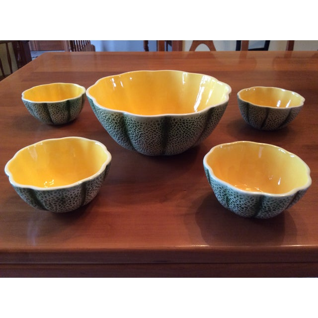 1960s Majolica Cantelope Salad Bowls - Set of 5 For Sale - Image 12 of 12